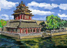 Cg som målar Forbidden City Royaltyfri Fotografi