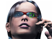 Female wearing high tech Smart Glasses Stock Images