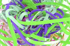 CGI composition, bunch of messy string, geometric for design texture, background. Colorful 3D rendering. CGI composition, geometric, bunch of messy string stock illustration