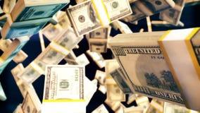 CGI-grafiek met vliegende dollarrekening stock afbeeldingen