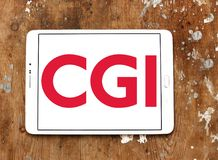 CGI Group logo. Logo of CGI Group on samsung tablet. CGI is a Canadian global information technology IT consulting, systems integration, outsourcing, and stock image