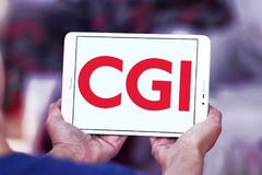 CGI Group logo. Logo of CGI Group on samsung tablet. CGI is a Canadian global information technology IT consulting, systems integration, outsourcing, and stock photography