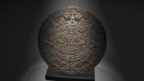 3D animation Maya calendar over a pillar, ancient.