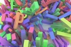 CGI-typografie, alfabetische karakterbrief van ABC voor ontwerptextuur, achtergrond Kleurrijk, 3d, bos & kunstwerk royalty-vrije illustratie