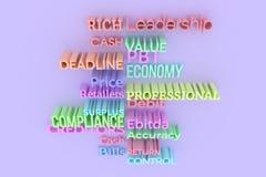Cgi-Typografie, Geschäftsfinanzierung bezog sich Schlüsselwörter für Entwurf tex vektor abbildung