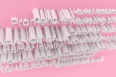 Gray or white with color backdrop 3D rendering. Abstract CGI typography, marketing related keywords. Wallpaper for graphic design. CGI typography, marketing royalty free illustration