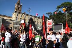 cgil Del Demonstracja krajowy piazza popolo Rome Fotografia Royalty Free
