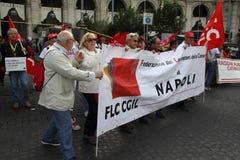 cgil Del Demonstracja krajowy piazza popolo Rome Fotografia Stock
