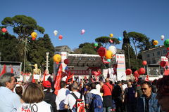 cgil Del Demonstracja krajowy piazza popolo Rome Obraz Stock