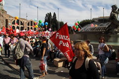 cgil del demonstration εθνικό popolo Ρώμη πλατειών Στοκ Εικόνα