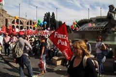 cgil del demonstration nationell piazzapopolo rome Fotografering för Bildbyråer