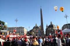 cgil del demonstration nationell piazzapopolo rome Arkivfoton