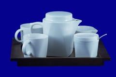 Chá-bandeja com copos 2, com trajeto de grampeamento Foto de Stock Royalty Free