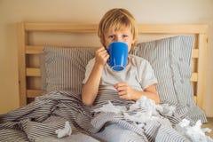 Chá bebendo do menino doente em sua cama Crian?a doente com febre e doen?a na cama fotos de stock