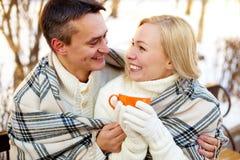 Chá-beber do inverno Imagens de Stock Royalty Free