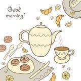 Chá, café e doces Ilustração Stock
