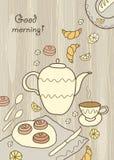 Chá, café e doces no fundo de madeira Ilustração Royalty Free