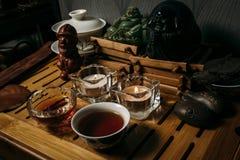 Chá com as especiarias na tabela de madeira escura imagens de stock royalty free