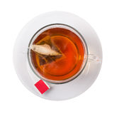 Chá com um saco uma pirâmide na imagens de stock royalty free