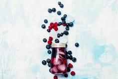 Chá congelado do fruto com mirtilo, framboesa e gelo na garrafa de vidro Fotos de Stock Royalty Free