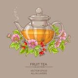 chá cor-de-rosa do cão no bule Fotos de Stock Royalty Free