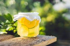 Chá cru fermentado caseiro de Kombucha pronto para beber com laranja e cal verão imagens de stock