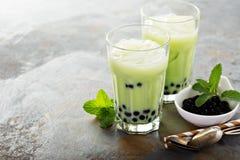 Chá da bolha de Matcha fotos de stock