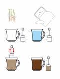 Chá da instrução Infographics pisa para fazer o chá do saco VE ilustração royalty free