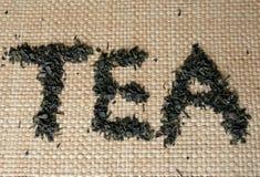 Chá da palavra feito do chá verde fotografia de stock royalty free