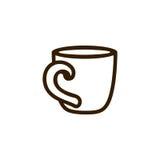 Chá da xícara de café com linha preto do ícone no branco Fotos de Stock