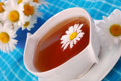 Chá de camomila no copo branco Fotografia de Stock Royalty Free
