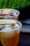 Chá de gelo de refrescamento com fatia da canela e da maçã em um copo plástico Foto de Stock Royalty Free