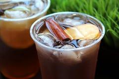 Chá de gelo de refrescamento com fatia da canela e da maçã em um copo plástico Fotos de Stock Royalty Free