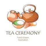 Chá de Matcha, bandeira drwan da mão oriental da cerimônia ilustração royalty free