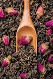 Chá de Oolong com os botões cor-de-rosa delicados Fotografia de Stock