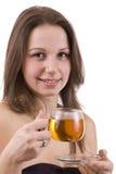 Chá dirinking da mulher Fotos de Stock Royalty Free