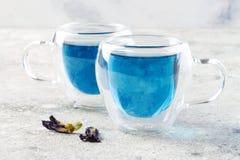Chá do azul da flor da ervilha de borboleta Bebida erval da desintoxicação saudável fotografia de stock royalty free