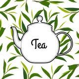 Chá do cardpure do vintage com chaleira Foto de Stock Royalty Free