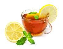 Chá do copo com hortelã e limão Imagem de Stock