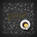 Chá do copo com limão Teste padrão do desenho da mão do quadro Vetor Imagens de Stock Royalty Free