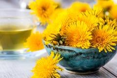 Chá do dente-de-leão Flores do dente-de-leão e copos de chá amarelos Imagem de Stock Royalty Free