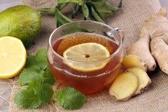 Chá do gengibre com conceito saudável do estilo de vida da hortelã e do limão Fotos de Stock