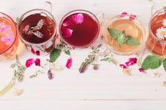 Chá do Herba em uns copos no fundo de madeira branco Foto de Stock Royalty Free