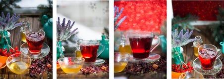 Chá do hibiscus em um copo de vidro em um fundo de madeira Imagens de Stock