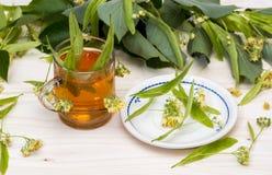 Chá do Linden nas flores de um copo do vidro e nas folhas do Linden Fotografia de Stock