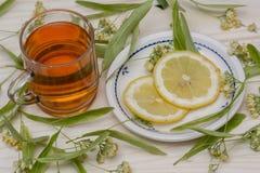 Chá do Linden nas flores de um copo do vidro e nas folhas do Linden Foto de Stock