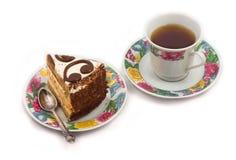 Chá e bolo Imagens de Stock