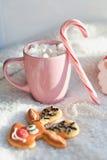 Chá e café com marshmallows e pirulito Imagens de Stock Royalty Free