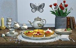 Chá e pastelarias 3D CG Fotografia de Stock