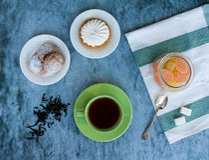 Chá e sobremesas Foto de Stock